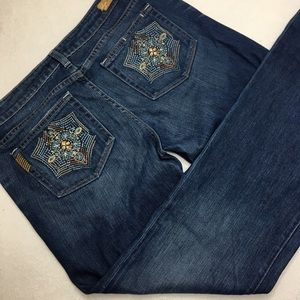 Paige Benedict Canyon Embroidered Pocket Jeans 31